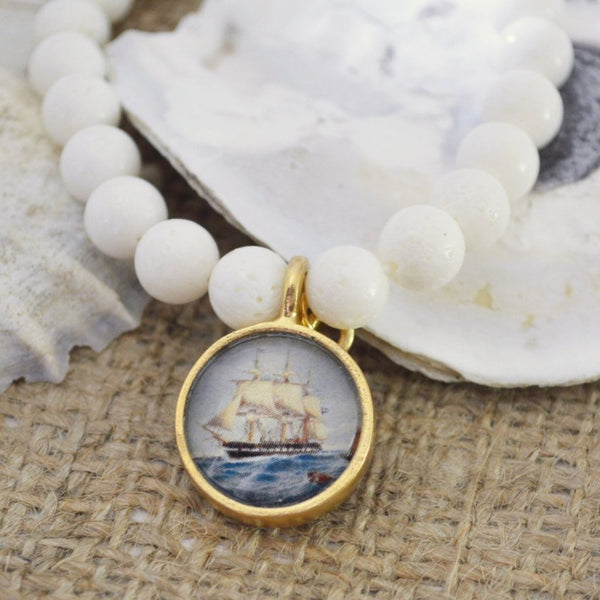 Women's Nautical SemiPrecious Beaded Charm Bracelet - Vintage Ship