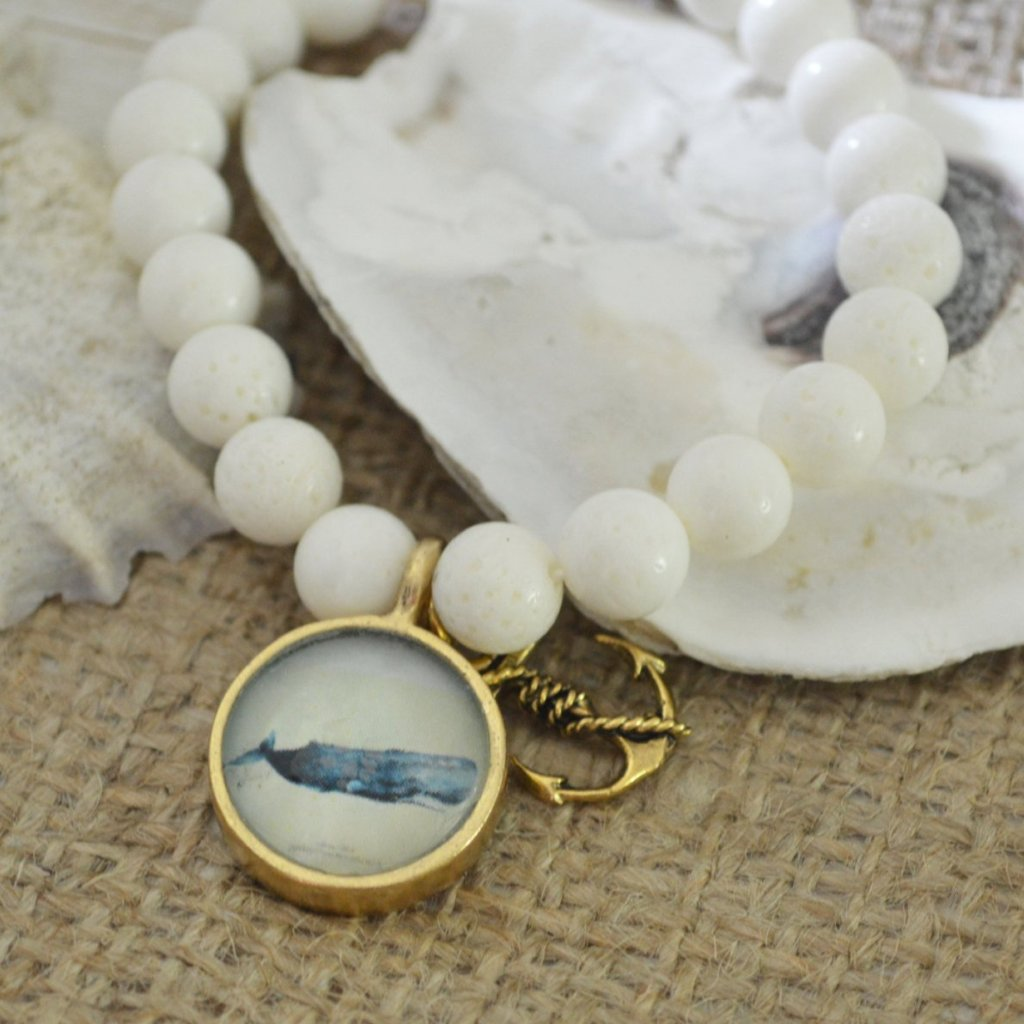 Vintage Whale Illustration SemiPrecious Beaded Charm Bracelet