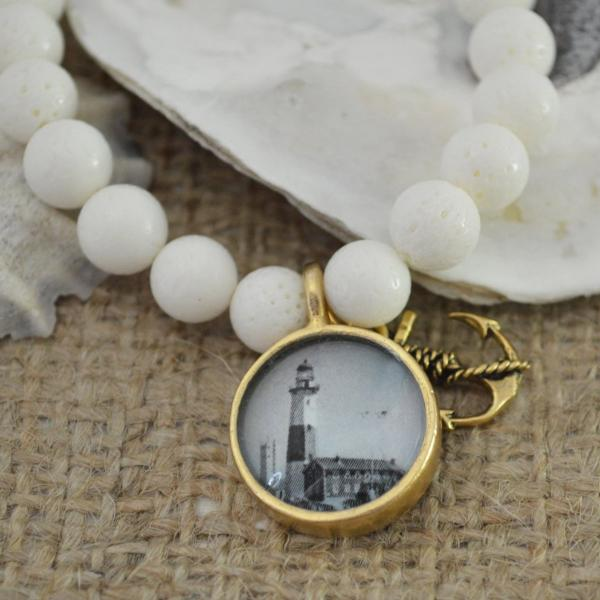 Women's Nautical SemiPrecious Beaded Charm Bracelet - Lighthouse