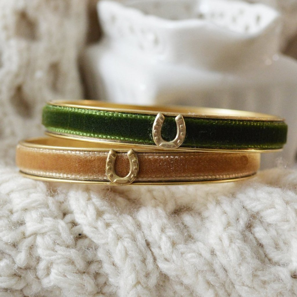 Women's Preppy Equestrian Bangle Bracelet - Green & Tan Velvets