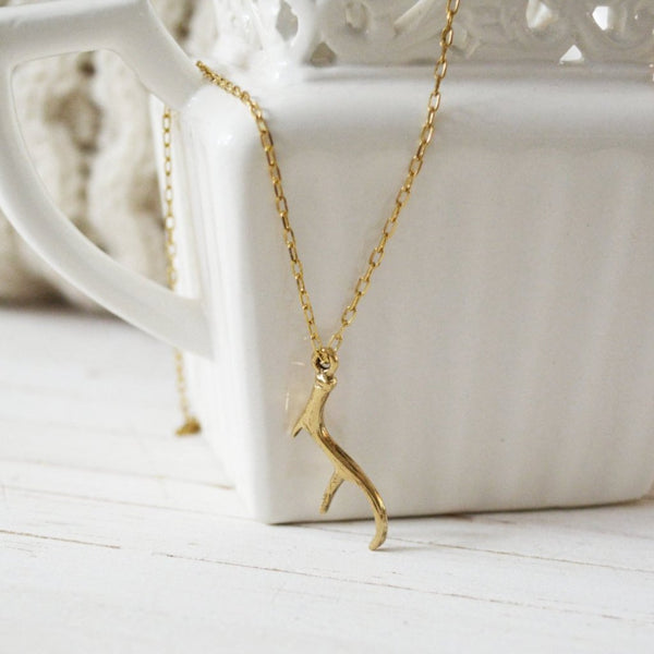 Women's Preppy Equestrian Dainty Charm Necklace - Gold Antler