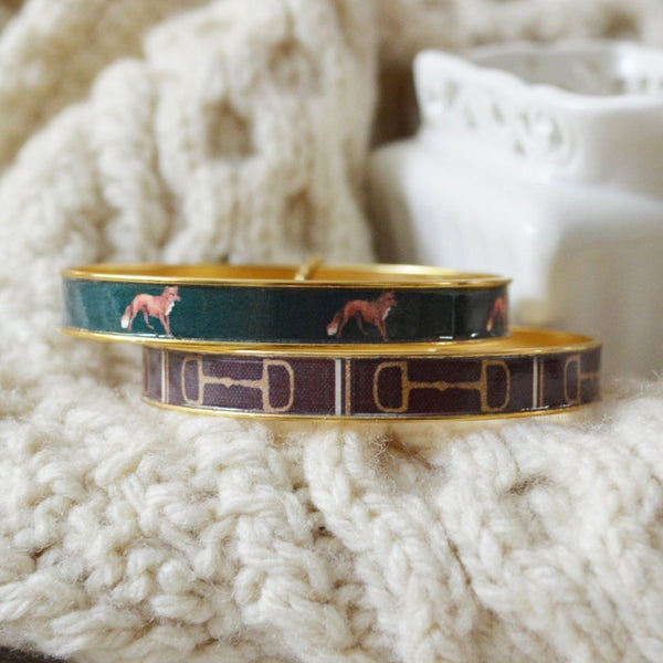 Women's Preppy Equestrian Bangle Bracelet - Brown HorseBit & Foxes