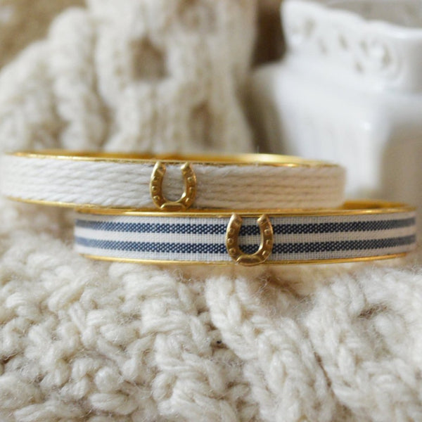 Women's Preppy Equestrian Bangle Bracelet - Cream Cashmere & Fabric Navy Stripes