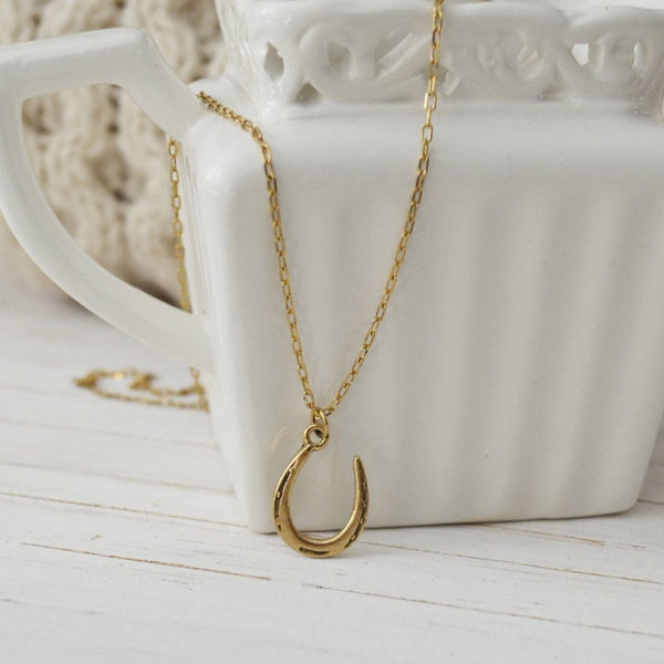 Women's Preppy Dainty Charm Necklace - Gold Horseshoe