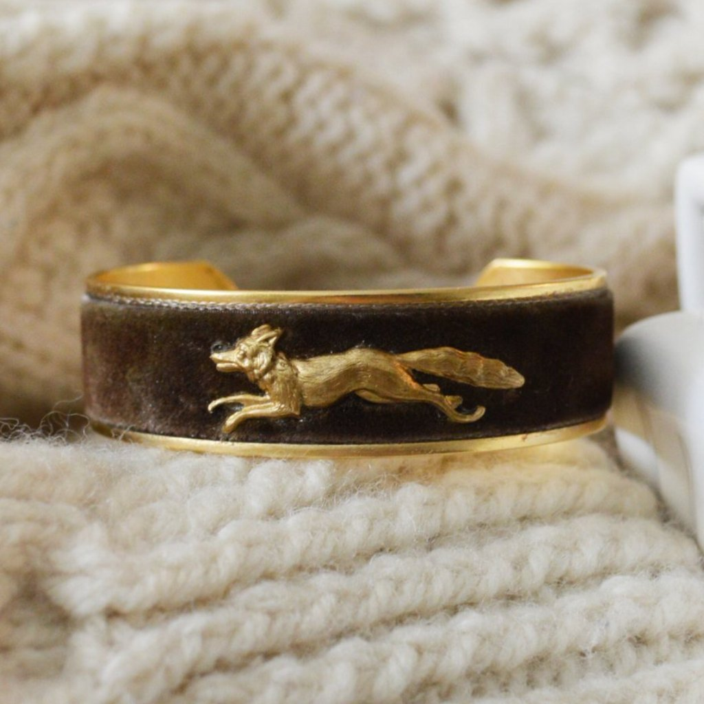 Brown Velvet Running Fox Cuff Bracelet