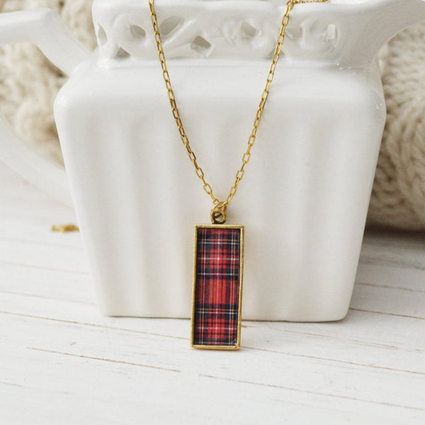 Women's Preppy Dainty Charm Necklace - Classic Plaid