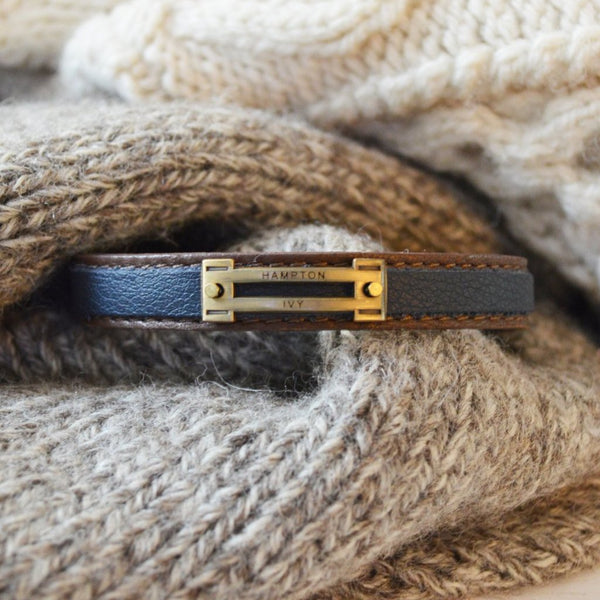 Preppy Equestrian Double Leather Bracelet - Brown & Navy