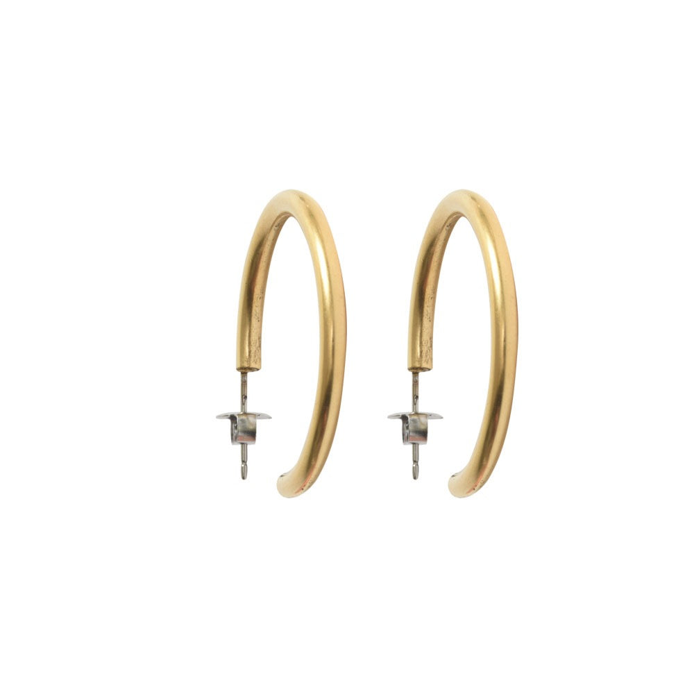 Antiqued Gold Small Hoop Earrings