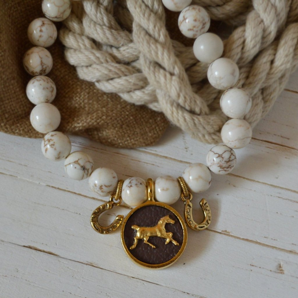 Women's Equestrian SemiPrecious Beaded Charm Bracelet - Brown Leather & Gold Horse