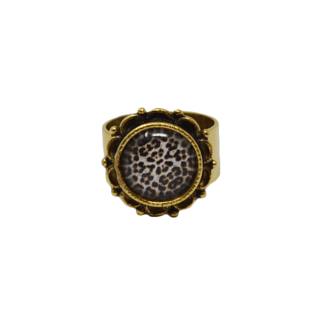 Leopard Print Adjustable Ornate Ring
