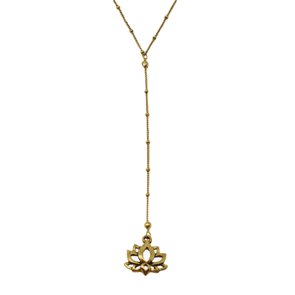 Lotus Flower Drop Charm Y Necklace