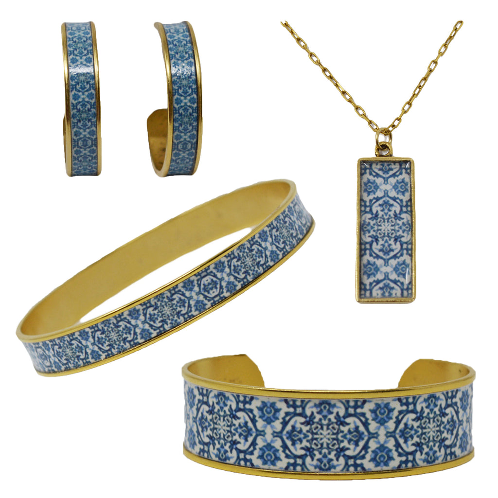 Mediterranean Royal Blue Tile Jewelry Set