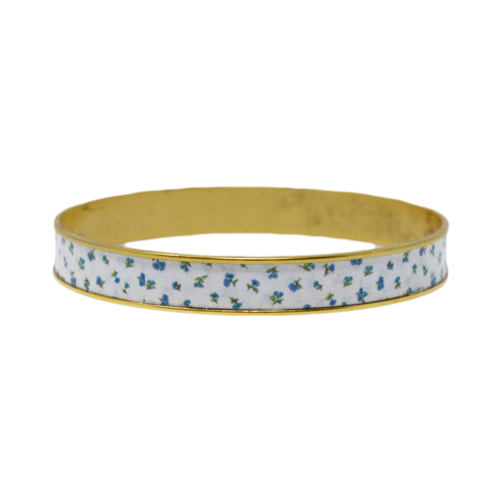 Sweet Blue Floral Bangle Bracelet
