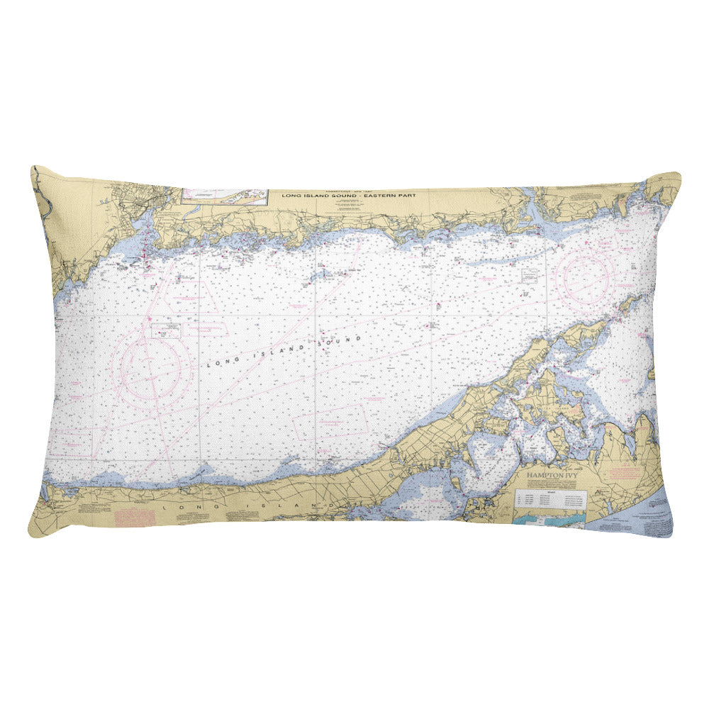 Long Island Sound Nautical Chart Premium Throw Pillow