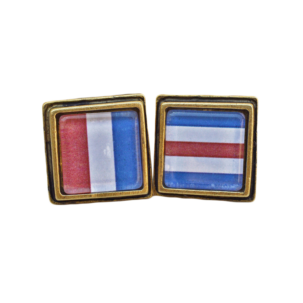 Men's Antiqued Nautical Flag Square Cuff Links