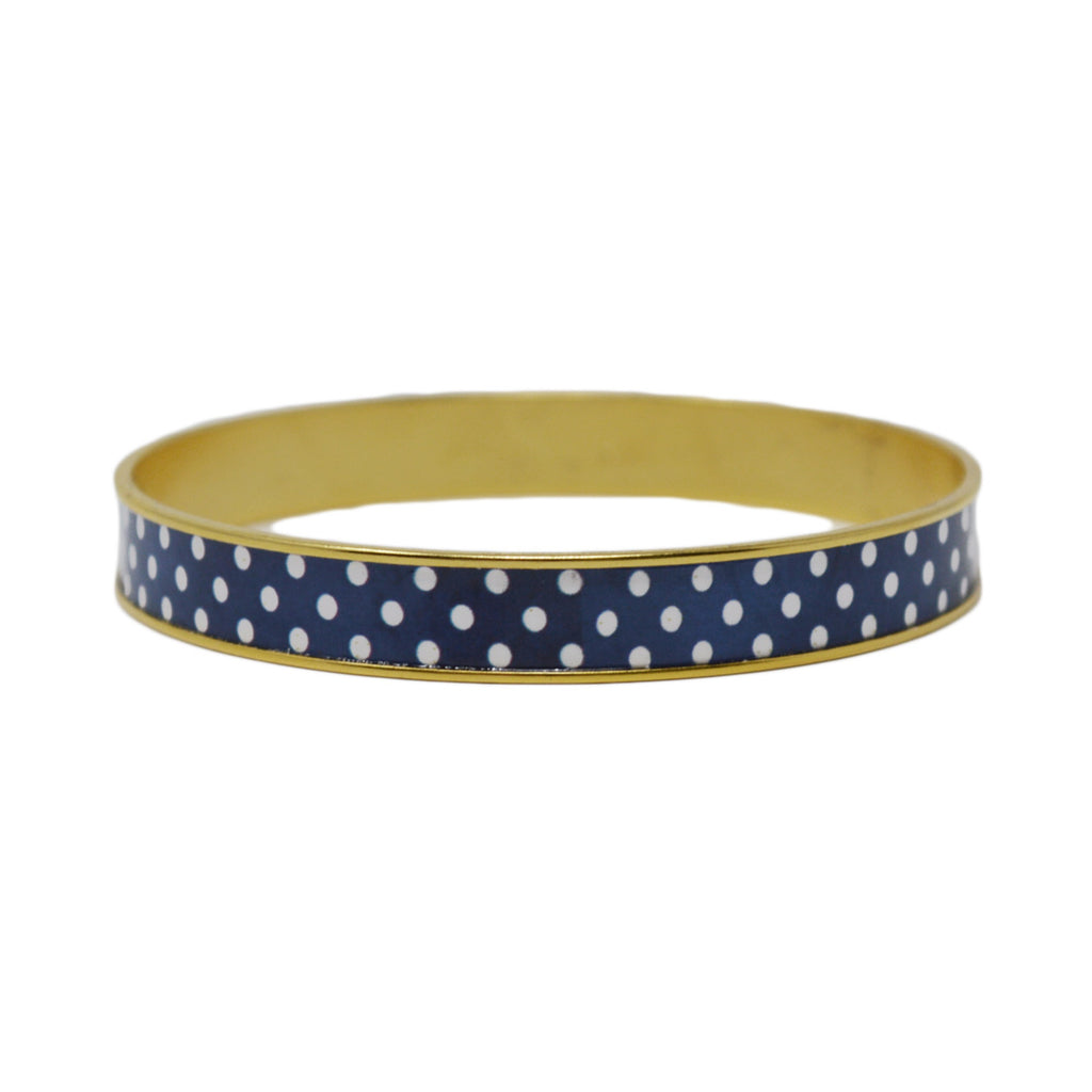 Navy Polka Dot Bangle Bracelet