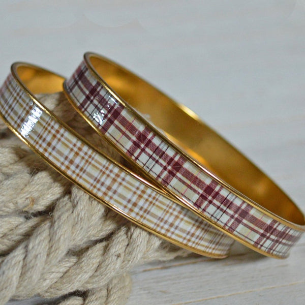 Women's Preppy Bangle Bracelet - Old Fashioned Tartan & Plaid