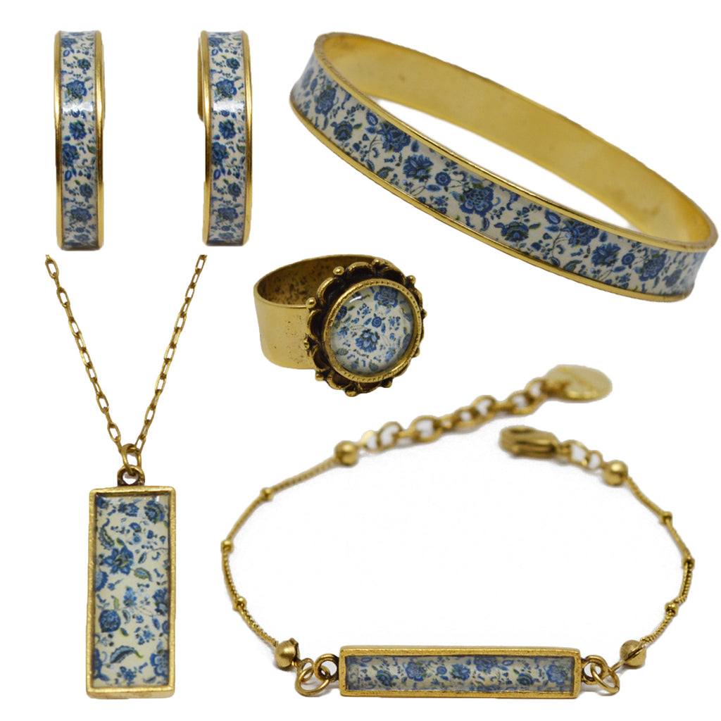 New England Blue Floral Jewelry Set