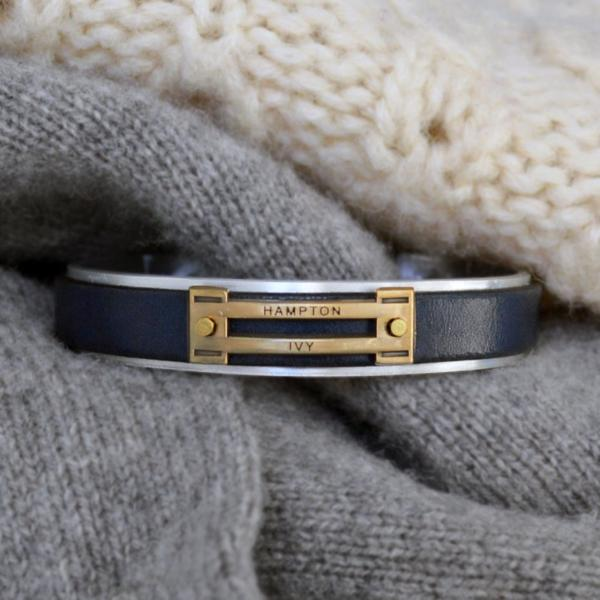 Preppy Equestrian Leather Metal Cuff Bracelet - Navy