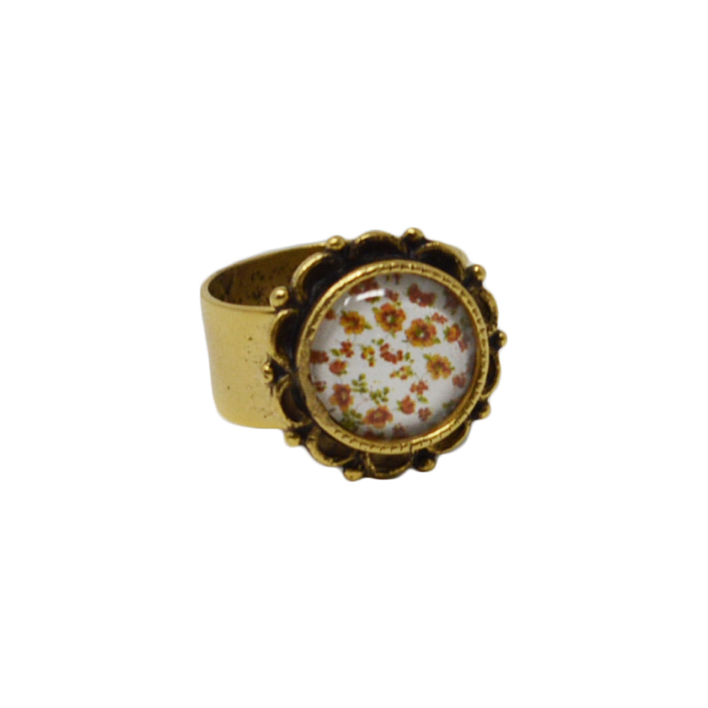 Autumn Fields Floral Adjustable Ornate Ring