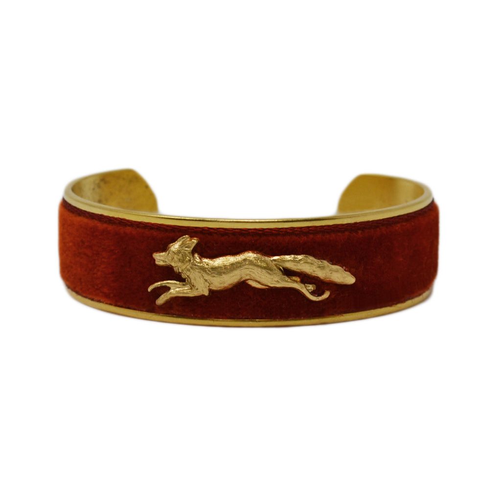 Burnt Orange Velvet Running Fox Cuff Bracelet