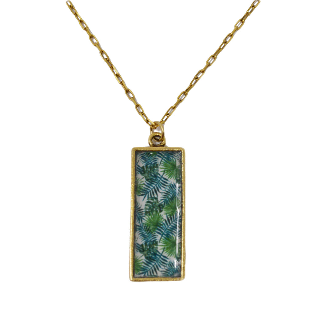 Palm Beach Palm Leaves Pendant Necklace