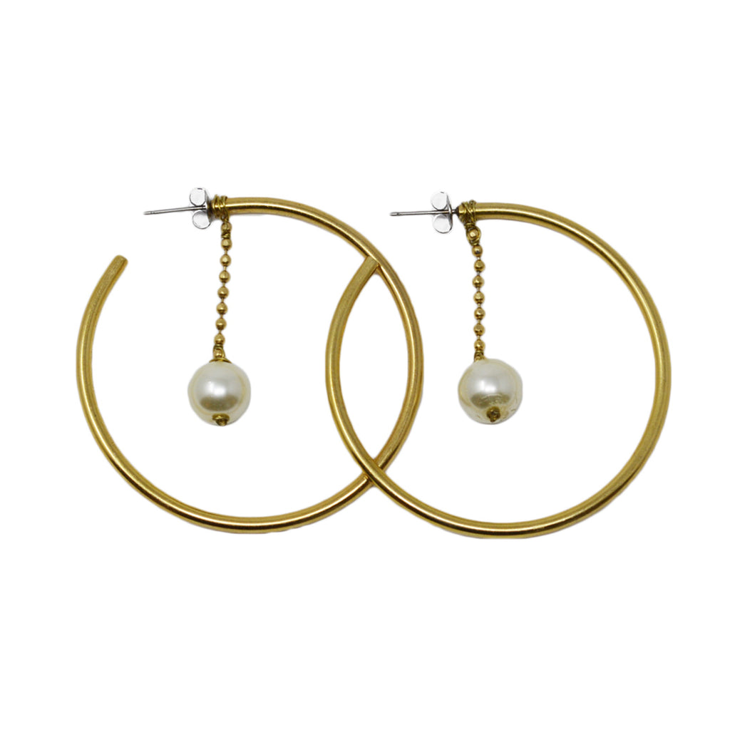 Antiqued Gold Pearl Drop Large Hoop Earrings