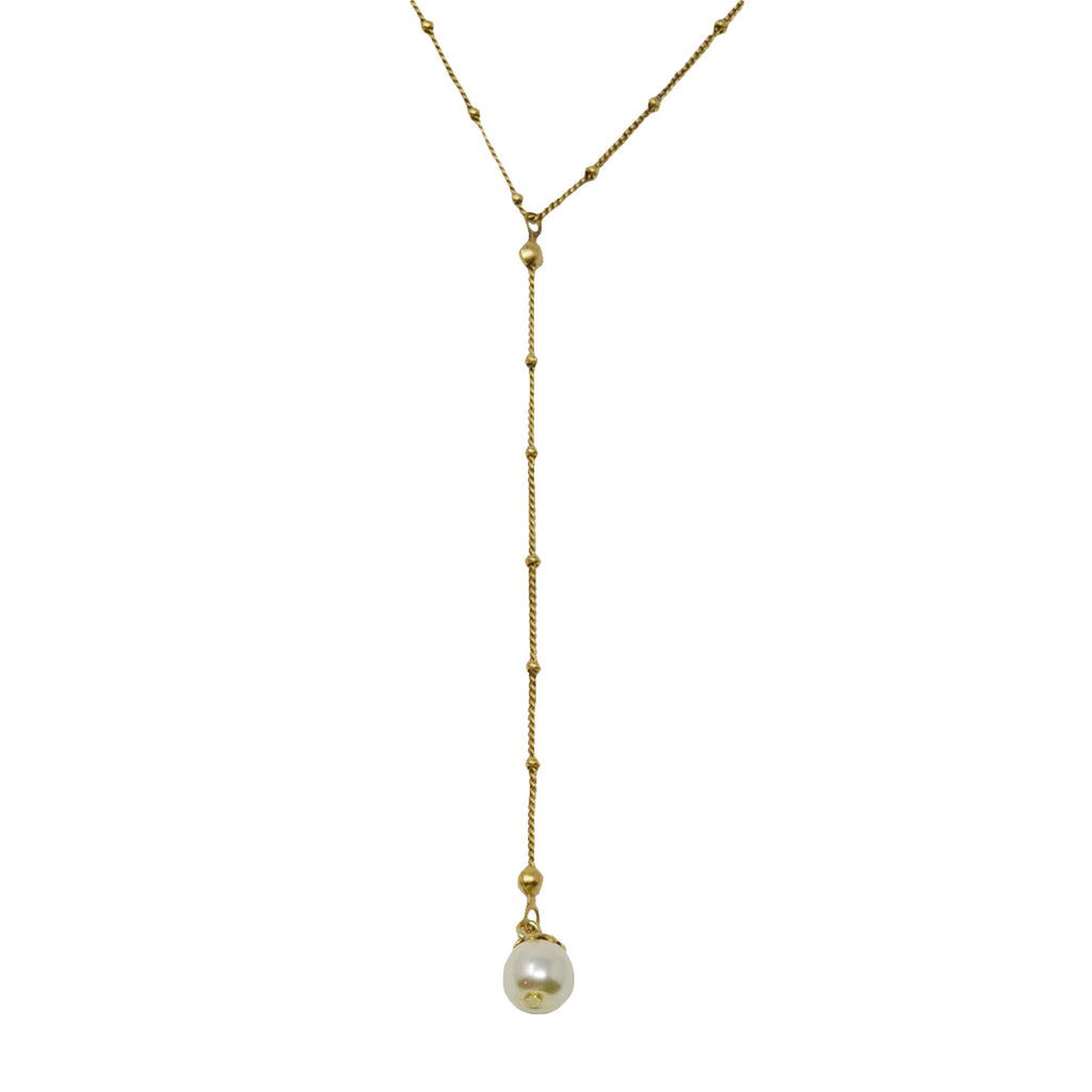 Pearl Drop Charm Y Necklace