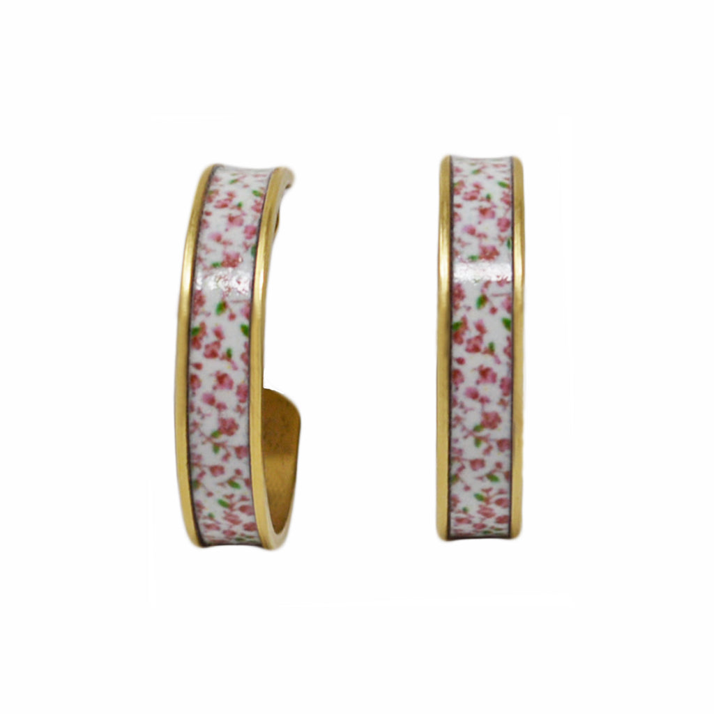 Pink Floral Hoop Earrings