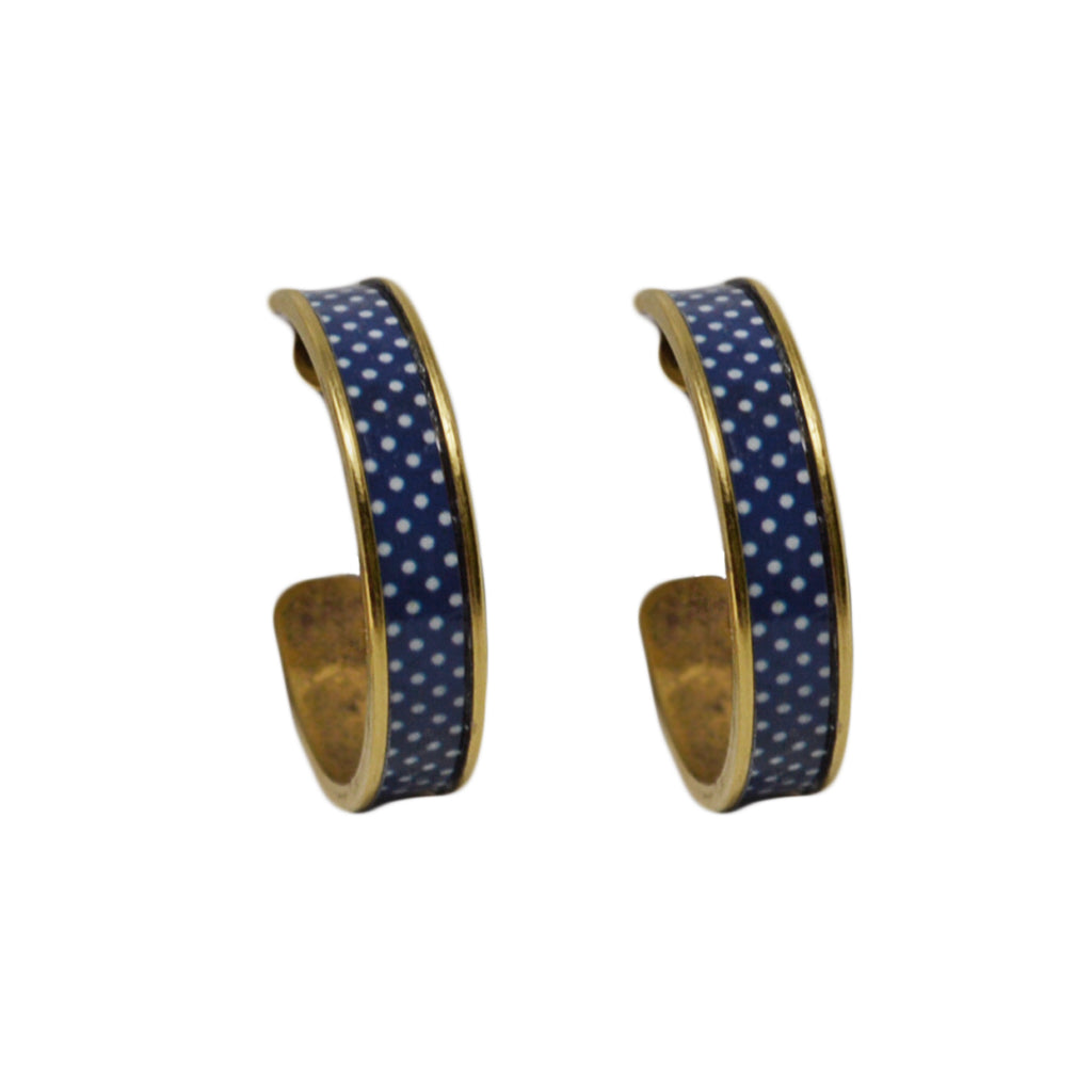 Navy Blue Polka Dot Hoop Earrings