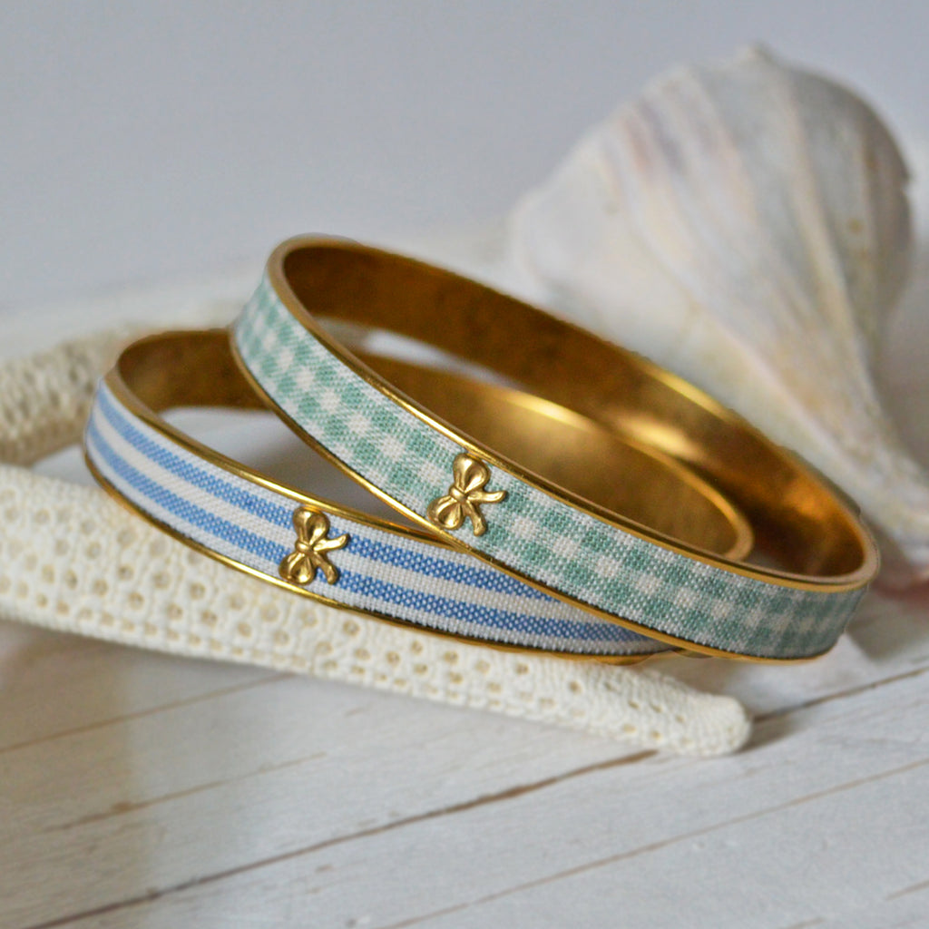 Women's Preppy Bangle Bracelets - Blue Stripes & Green Gingham