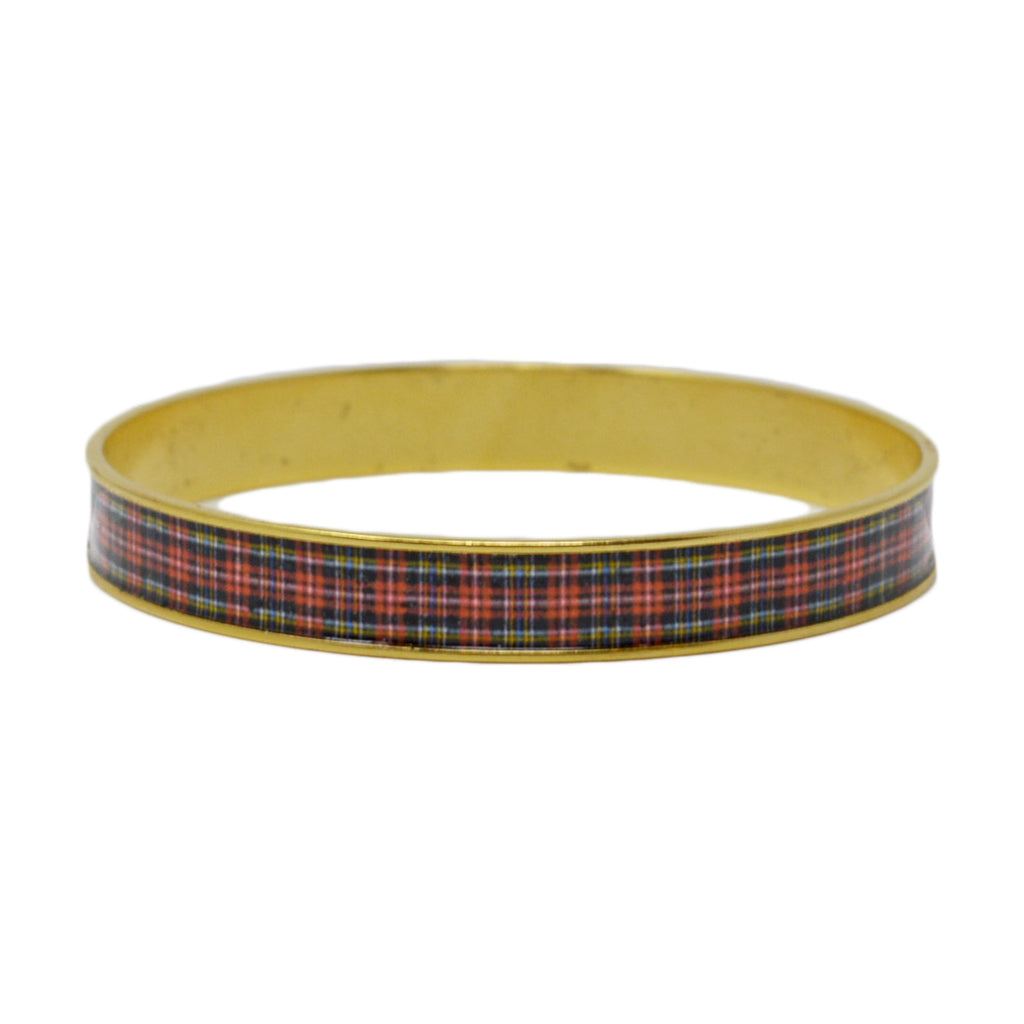 Classic Red Plaid Bangle Bracelet