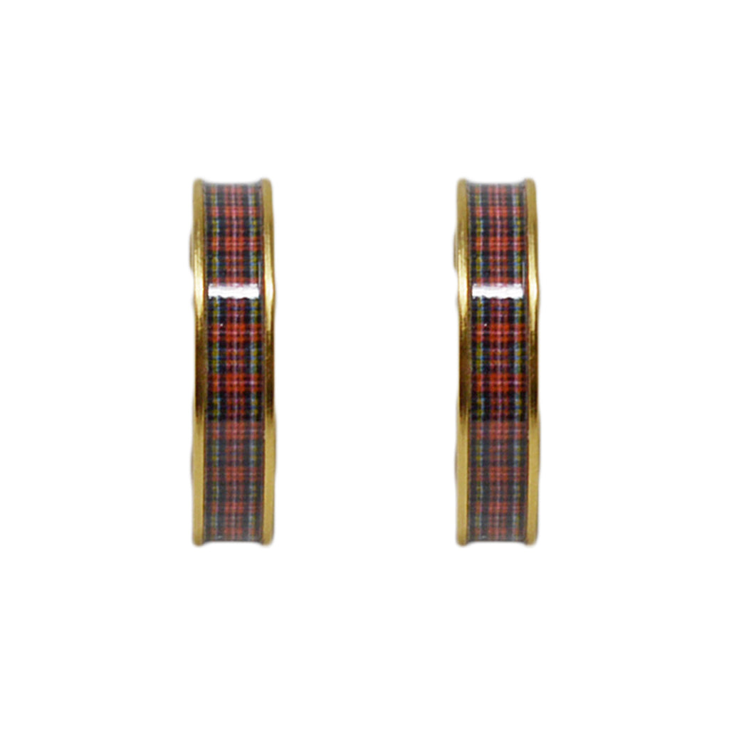Classic Red Plaid Hoop Earrings