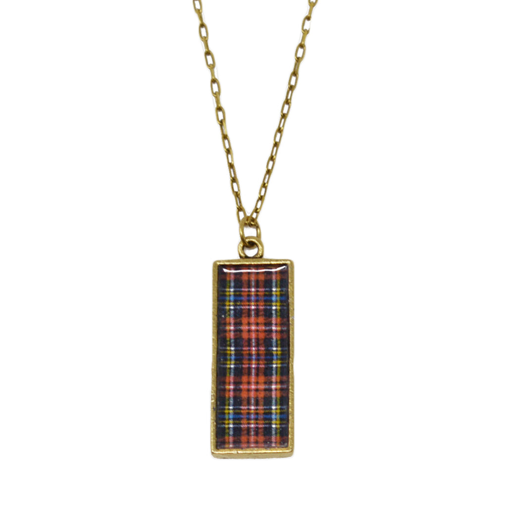 Classic Red Plaid Pendant Necklace