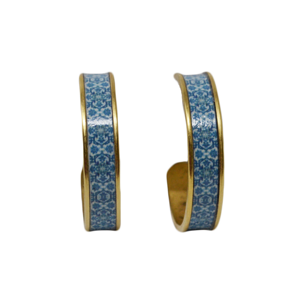 Mediterranean Royal Blue Tile Hoop Earrings