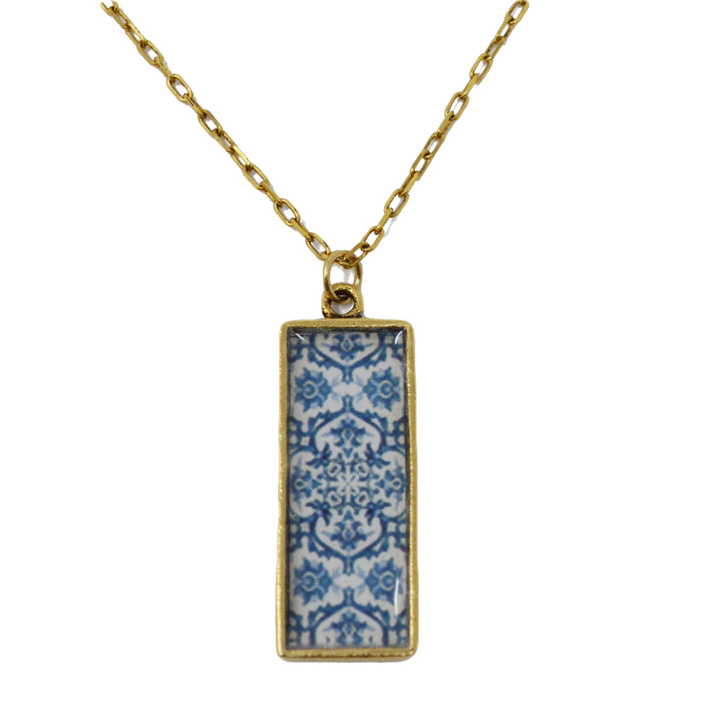 Mediterranean Royal Blue Tile Pendant Necklace