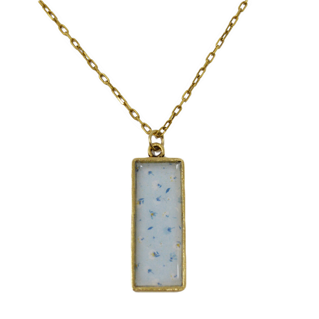 Soft Blue Summer Floral Pendant Necklace