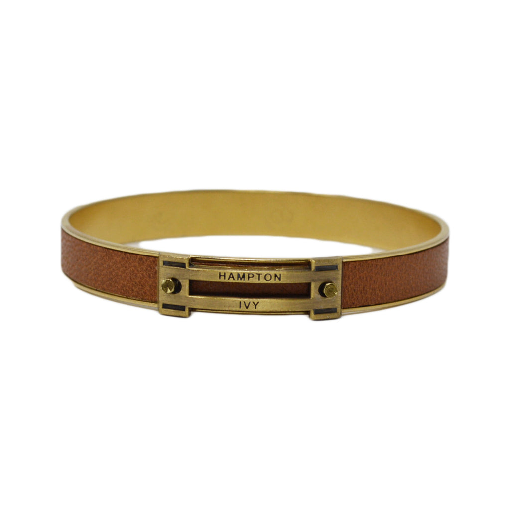 Tan Leather Horse Jump Bangle Bracelet