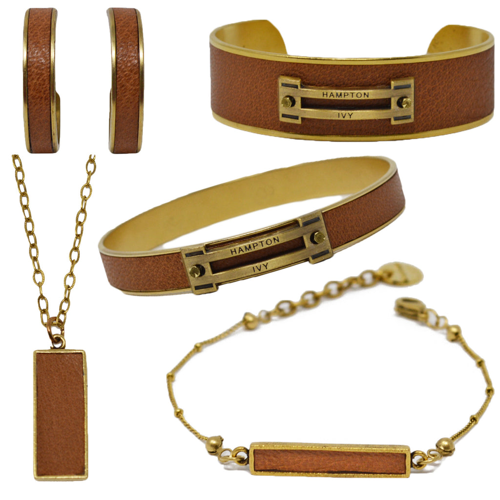 Tan Leather Jewelry Set