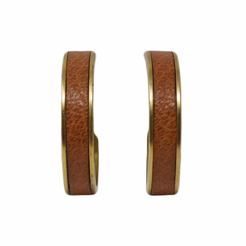 Tan Leather Hoop Earrings