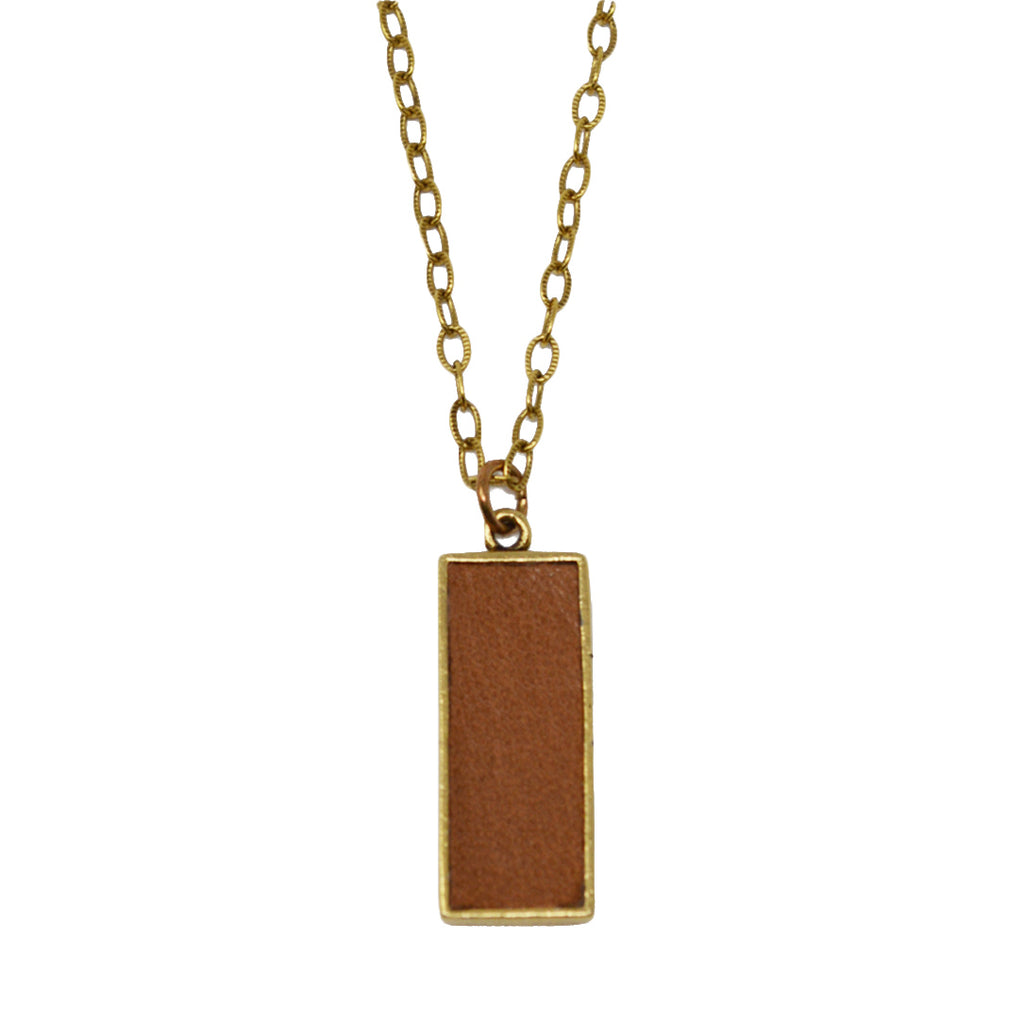 Tan Leather Pendant Necklace