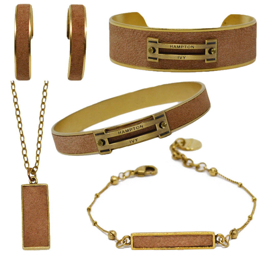 Tan Suede Jewelry Set