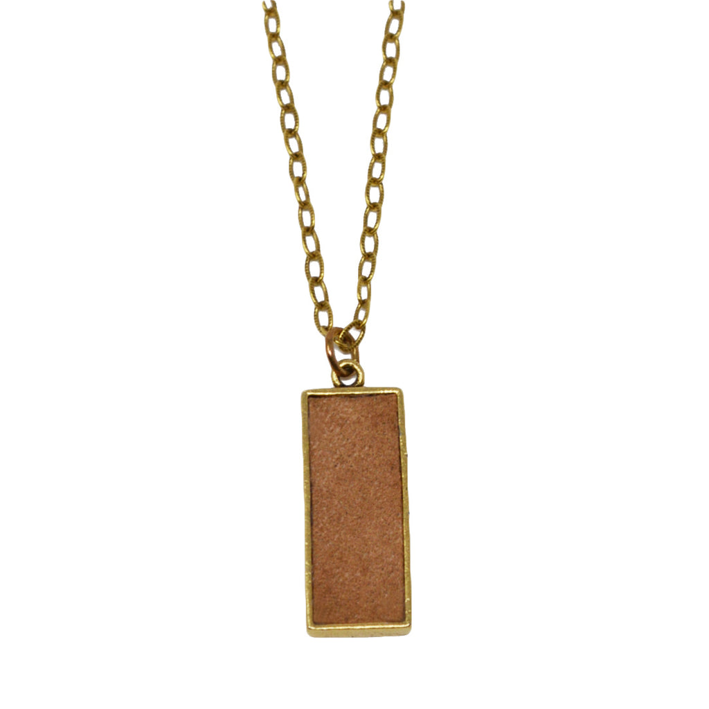 Tan Suede Pendant Necklace
