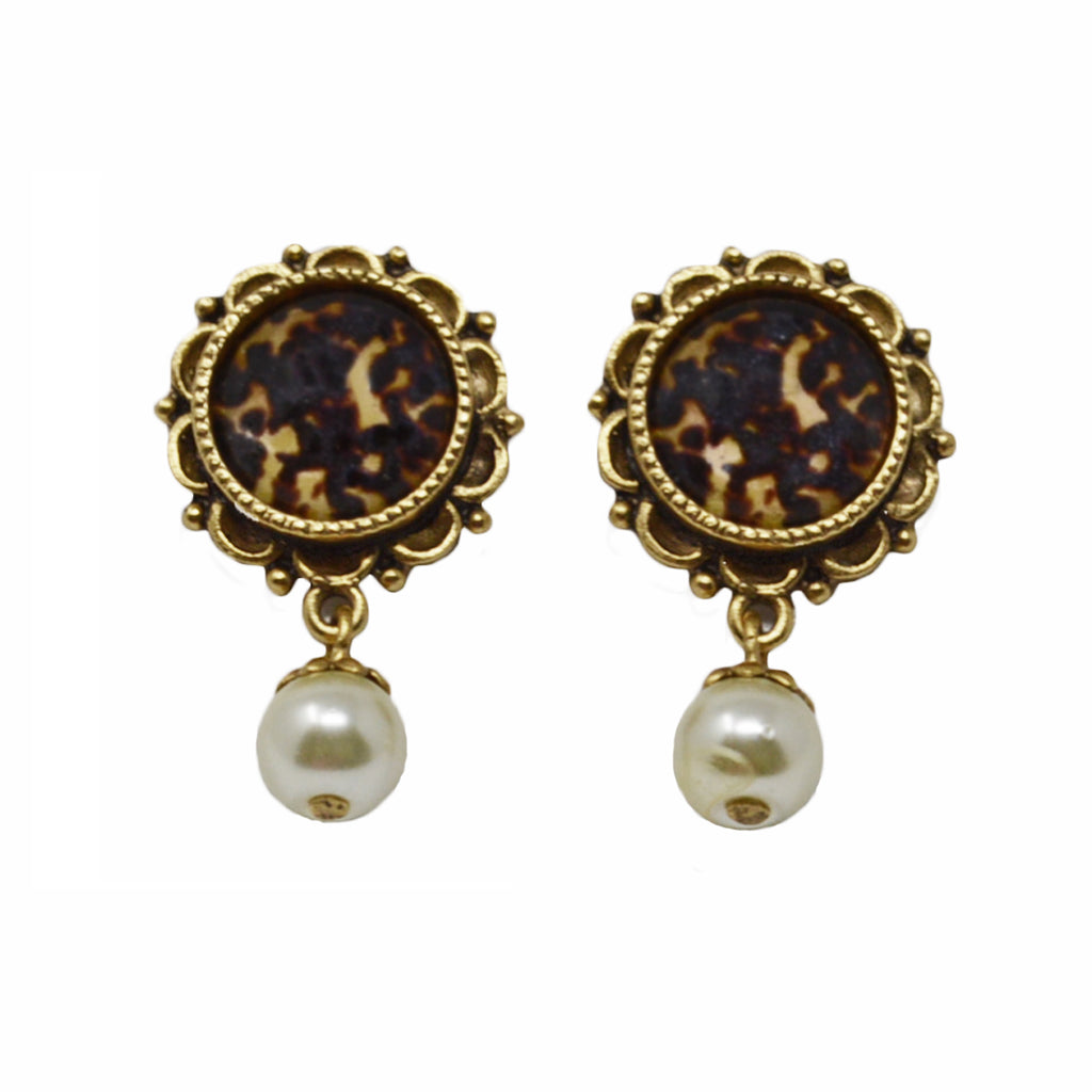 Ornate Tortoiseshell Drop Pearl Earrings