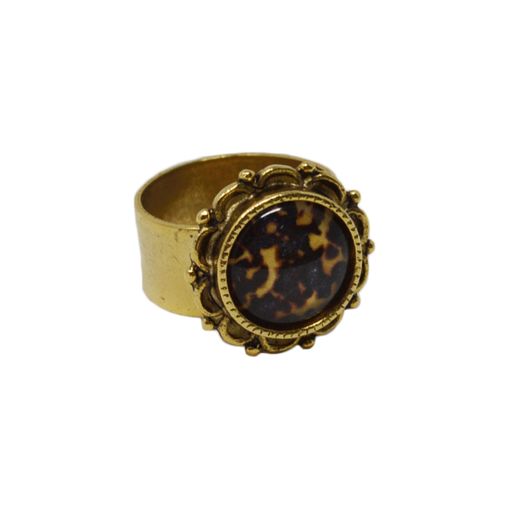 Tortoiseshell Adjustable Ornate Ring