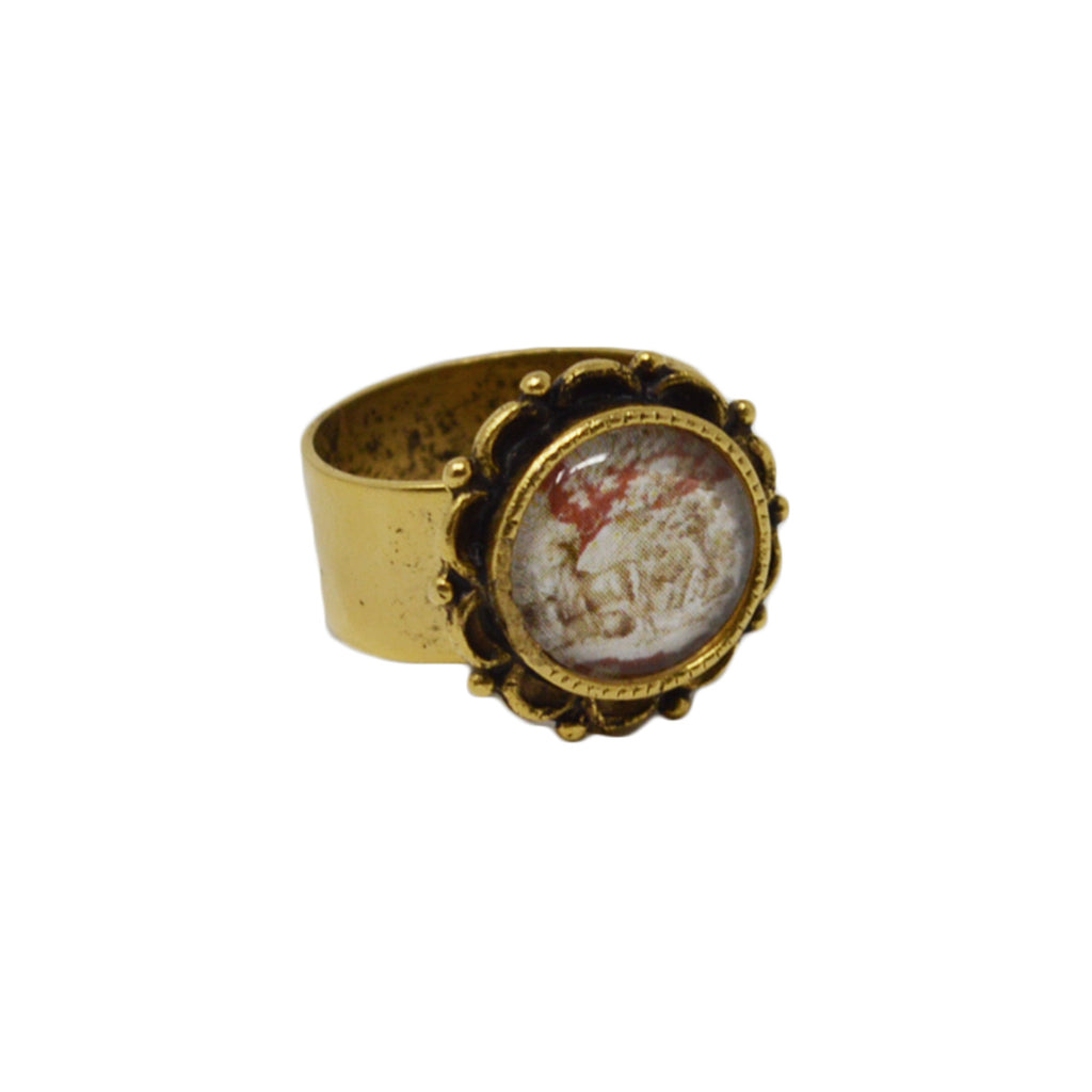 Whitetail Toile Adjustable Ornate Ring