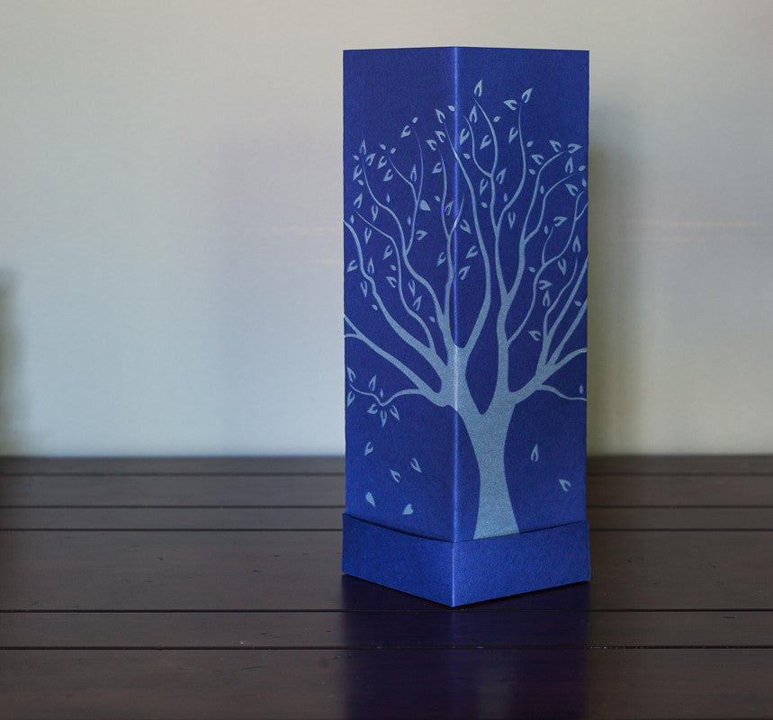 Tall Tree Paper Luminary blue with white boho decor