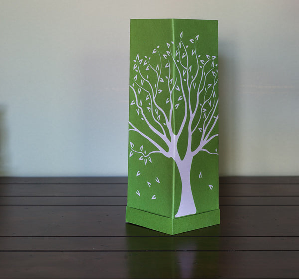 Tall Tree Paper Luminary green with white boho decor