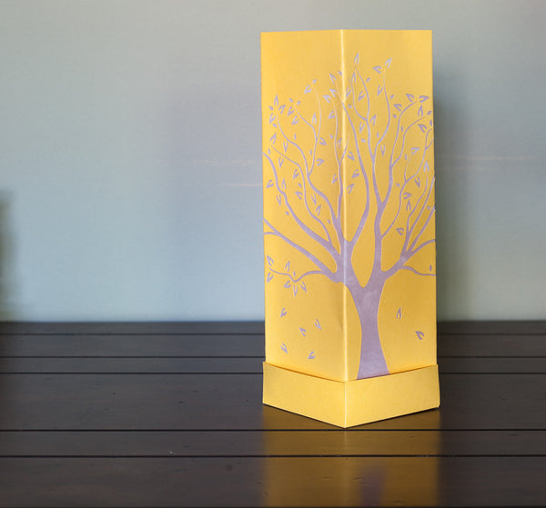 Tall Tree Paper Luminary Yellow with white boho decor