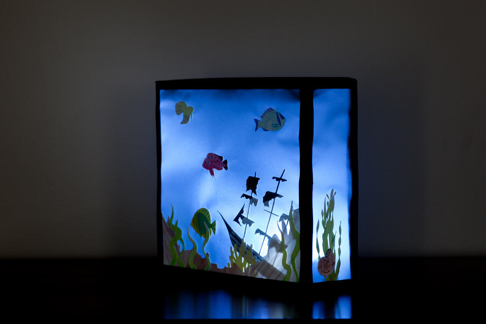 illuminated Paper Aquarium night light tropical fish with pirate shipwreck light included